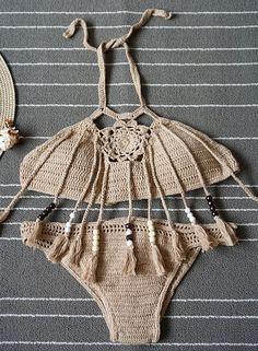 Halter Crochet Tassel 2 Piece Swimwear