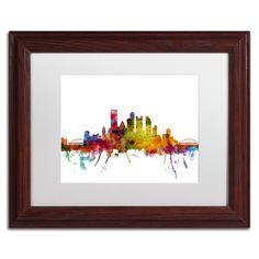 Michael Tompsett 'Pittsburgh Pennsylvania Skyline' Matte, Wood Framed Canvas Wall Art