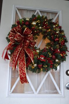 Christmas Swag, Christmas Wreath, Holiday Wreath, Centerpiece, Designer Swag, Red Wreath, Elegant Holiday Décor, Cordless Wreath. Battery Operated Wreath, Pre-lit Wreath, LED light, Auto on/off Timer. * Please note: Ribbon shown is out of stock and I'm using very nice scroll print