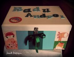 Wooden box, painted in acrilic colours and decoupage, customised    with wood letters baby name.