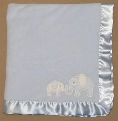 Carters Blue Velboa Elephant Mommy & Baby Blanket Fluffy Satin Trim Stripes Boys #Carters