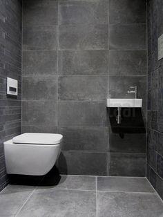 Tegels badkamer grijs, tegelstroken toilet, muurstrips, toilet badkamer ideeen, natuursteen, tegel inspiratie, betonlook