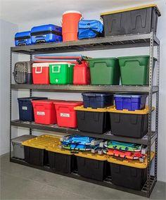 Steel Shelving Unit, Garage Shelving, Garage Storage, Locker Storage, Ceiling Storage, Storage Shelves, Garage Workshop Organization, Garage Cabinets, Hacks