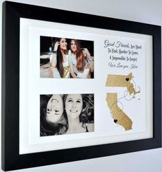 Long distance friendship gift, long distance relationship, unique wall art gift, best friend long distance, any map, photo gift by Picmats on Etsy https://www.etsy.com/listing/254872596/long-distance-friendship-gift-long