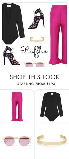 """""""All Ruffled Up"""" by danielle-487 ❤ liked on Polyvore featuring Isa Arfen, Solace, Sheriff&Cherry, Jennifer Fisher and ruffles"""