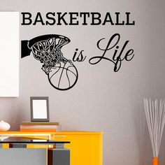 Basketball Discover Basketball Is Life Wall Decal Quote Basketball Hoop Wall Decals Sports Vinyl Stickers Nursery Kids Teens Boys Room Wall Art Home Decor Boys Basketball Bedroom, Basketball Bedding, Basketball Is Life, Basketball Room Decor, Basketball Skills, Basketball Decorations, Sports Wall Decals, Wall Stickers, Book Baskets