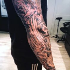Full Arm Sleeve Wings Guys Tattoo With Gears