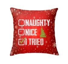 Naughty Nice Red Throw Pillow