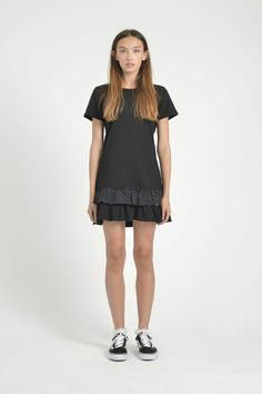 HUFFER FRILL HEM DRESS BLACK - HUFFER W14 :