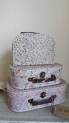 SET OF 3 VINTAGE STYLE FLORAL SUITCASES, STORAGE BOXES, TOY BOXES, VANITY CASES Available from http://stores.ebay.co.uk/Dolly-Daydream-Boutique https://www.facebook.com/maisonroyale.co.uk