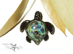 Midnight Sparkle Turtle Pendant  Glass by CreativeFlowGlass