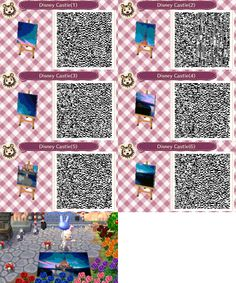 Disney Castle mural Animal Crossing:New Leaf QR codes