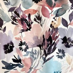 Art Floral, Watercolor Flowers, Watercolour, Scarf Design, Surface Pattern Design, Fabric Painting, Painting Inspiration, Poster Prints, Illustration Art