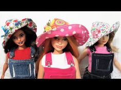 How to Make a Garden Sun Hat for Barbies | Harvest Time 2020 Series for Barbie: Part 2 - YouTube Sewing Barbie Clothes, Barbie Sewing Patterns, Barbie Dolls Diy, Hat Patterns To Sew, Sewing Dolls, Doll Clothes Patterns, Doll Patterns, Diy Dolls House Accessories, Barbie Accessories