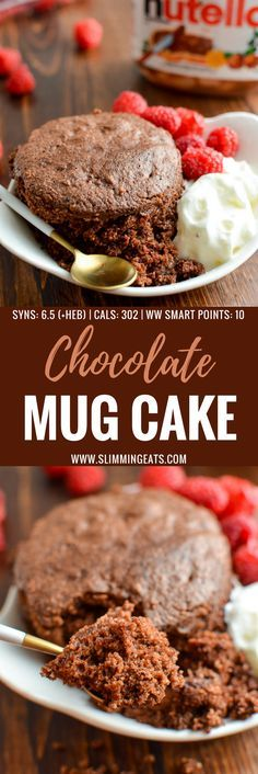 Best Slimming World Microwave Chocolate Mug Cake you will ever make - seriously this is light, fluffy and delicious! Gluten Free, Vegetarian, Slimming World and Weight Watchers friendly Microwave Chocolate Mug Cake, Nutella Mug Cake, Cake Mug, Mug Cake Microwave, Chocolate Mug Cakes, Microwave Meals, Slimming World Cheesecake, Slimming World Deserts, Slimming World Vegetarian Recipes