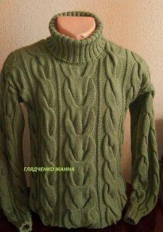 Мужской свитер с косами вязаный спицами с описанием. Размеры: S/M/L/XL/XXL.