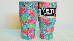 343329c72a0 YETI SALE! Lilly Pulitzer Inspired Flamingo 30 0z Stainless Steel Drink Cup  With Custom Wrap Design/Keeps Ice Overnight!Unique Gift! Lovely!