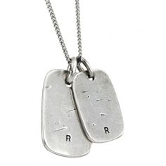 Hammered silver-plated dog tags necklace - Image Tags necklace