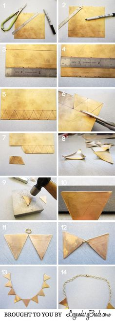 DIY Geometric Brass Necklace