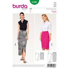 Elegant, slim Misses' skirts with a wrap look. A shaped waistband and yoke guarantee a good fit, the back set side seams are an eye-catching detail.