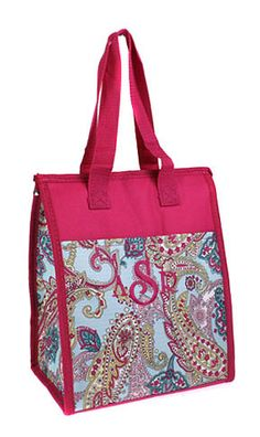 Monogram paisley navy, white coral and blue lunch tote bag. Personalize this paisley lunch tote bag with a monogram. Personalized Lunch Bags, Lunch Tote Bag, Insulated Lunch Bags, Diaper Bag, Paisley, Monogram, Diaper Bags, Mothers Bag, Monograms
