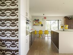 Dining/kitchen - love the yellow chairs!