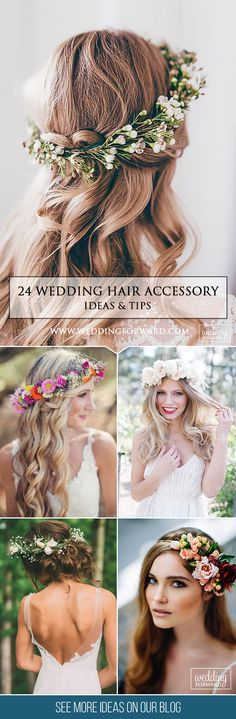 24  Lovely Wedding Hair Accessory Ideas & Tips ❤ Want to add something beautiful to your wedding look? See our collection of wedding flower crowns & hair accessories which was made to inspire you! See more: http://www.weddingforward.com/hair-accessories-inspiration/ #weddings #hairstyles