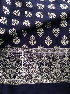 Pure Cotton, Paisley Border, Indian Fabric, Block Print,Dark Navy,All over…