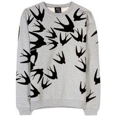 McQ Alexander McQueen - swallow print sweatshirt