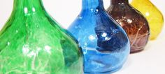 Set of hand blown glass bud vases with crackle detail