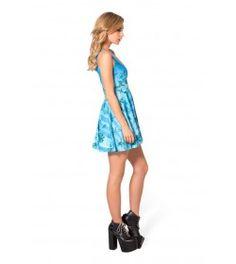 Blue Personality Digital Printing Sleeveless Sexy Pleated Skirt