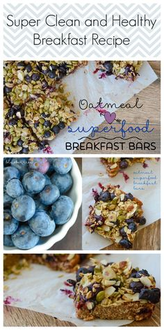 Super Clean and Healthy Breakfast Recipe | Oatmeal Superfood Breakfast Bars are loaded with healthy clean superfoods.