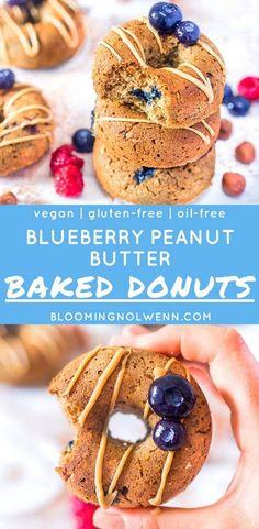 #vegandonuts #healthydonuts #peanutbutter Blueberry Peanut Butter Baked Donuts | Vegan, Gluten-free