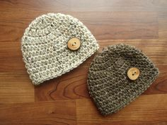 Crocheted Baby Boy Twins Hat Set  Real Wooden by KaraAndMollysKids, $28.00