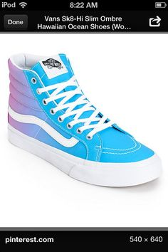 vans sk8 hi slim bel air blue & white shoes