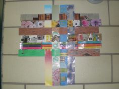 Paper weaving sample - student work Each strip represents an aspect of the student's life then the strips are woven together to make one composition Student Life, Student Work, Paper Weaving, Composition, Concept, Frame, How To Make, Art, Sorority Sugar