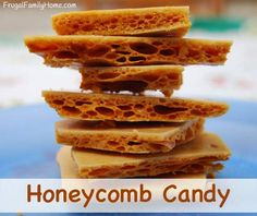 Homemade Sweet Treats, Honeycomb Candy - - Here's a yummy really honey flavored honeycomb candy. It is a crisp and sweet yummy honey treat. It only takes a few ingredients too. Honeycomb Recipe, Honeycomb Candy, Homemade Sweets, Homemade Candies, Sea Foam Candy, Köstliche Desserts, Dessert Recipes, Honey Candy, Toffee Candy