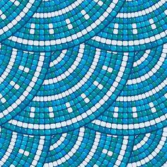 Mosaic pattern - Blue ceramic round classic geometric ornaments. - ilustração de arte vetorial