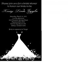 bridal shower invitations :  wedding diy bridal shower invites black white diy invitations Bridal Shower