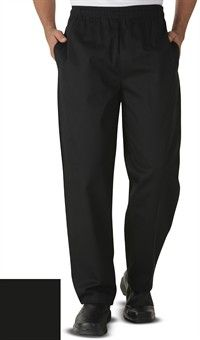 Style # 9201: BLACK: Classic Chef Pants - Solid Colors by ChefUniforms.com