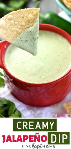 An easy Jalapeno dip recipe with mayonnaise, fresh jalapenos, cilantro, and tomatillo salsa! This is a copycat recipe of the popular Chuys dip perfect for your game day appetizers or any party! Add this recipe to your Super Bowl party food idea! Appetizers For A Crowd, Appetizer Recipes, Party Dip Recipes, Seafood Appetizers, Super Bowl Appetizers, Super Bowl Essen, Mayonnaise Recipe, Fingerfood Party, Snacks Für Party