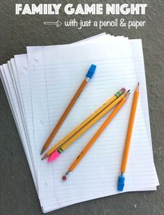Simple family game night - ideas using just pencil and paper!