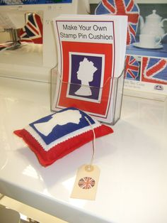// display // visual merchandising // craft display // sewing // jubilee // stamp cushion     A little something I designed for the Craft Department for the Jubilee