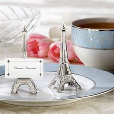 Eiffel Tower Silver-Finish Place Card Holder Wedding Favor - Party City