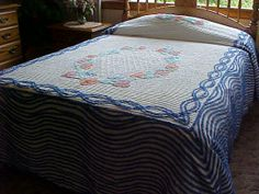 SALE White chenille 50's bedspread with royal blue by designer2, $95.00