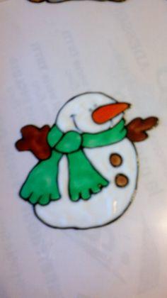 window color pupazzo di neve snowman