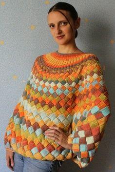Crochet Tunisian Entrelac 58 Ideas For 2019 Crochet Baby Blanket Tutorial, Crochet Blanket Edging, Tunisian Crochet Stitches, Knit Crochet, Kids Poncho Pattern, Knit Art, Crochet Baby Clothes, Pulls, Baby Knitting