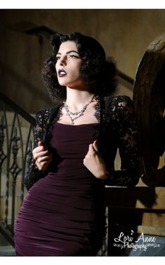 I love everything about this outfit!!  Vintage Goth Pinup Capsule Collection - Gothic Lace Bolero --