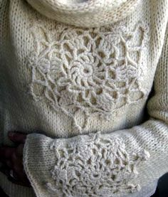 Knit sweater embellished with beautiful crochet! Love!!
