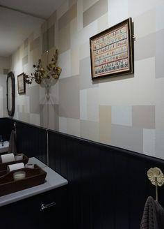 Grid wall created with tester pots Grid, Pots, Bathrooms, Flat Screen, Interior, Wall, Design, Blood Plasma, Bathroom